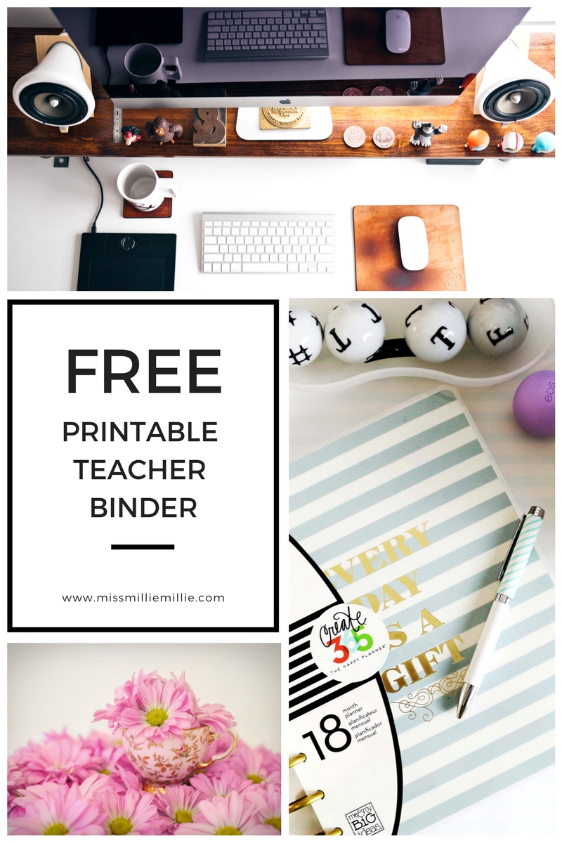 graphic relating to Teacher Binder Printables named Free of charge Printable Trainer Binder Miss out on Millie Millie